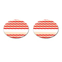 Chevron Wave Triangle Red White Circle Blue Cufflinks (oval)