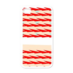 Chevron Wave Triangle Red White Circle Blue Apple iPhone 4 Case (White)