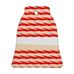 Chevron Wave Triangle Red White Circle Blue Ornament (Bell)