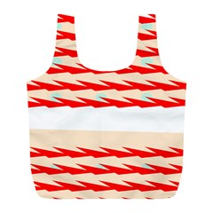 Chevron Wave Triangle Red White Circle Blue Full Print Recycle Bags (L)