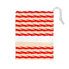 Chevron Wave Triangle Red White Circle Blue Drawstring Pouches (Large)