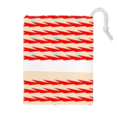 Chevron Wave Triangle Red White Circle Blue Drawstring Pouches (Extra Large)