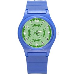 Green Hole Round Plastic Sport Watch (S)