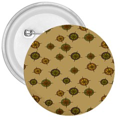 Compass Circle Brown 3  Buttons