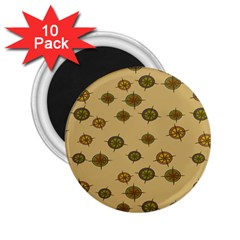 Compass Circle Brown 2.25  Magnets (10 pack)