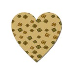 Compass Circle Brown Heart Magnet Front