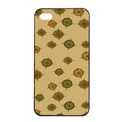 Compass Circle Brown Apple iPhone 4/4s Seamless Case (Black)