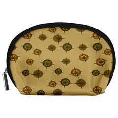 Compass Circle Brown Accessory Pouches (Large)
