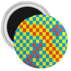 Optical Illusions Plaid Line Yellow Blue Red Flag 3  Magnets