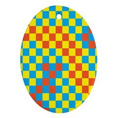 Optical Illusions Plaid Line Yellow Blue Red Flag Ornament (Oval)