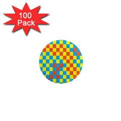 Optical Illusions Plaid Line Yellow Blue Red Flag 1  Mini Magnets (100 Pack)