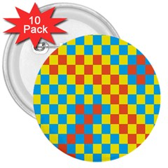 Optical Illusions Plaid Line Yellow Blue Red Flag 3  Buttons (10 pack)