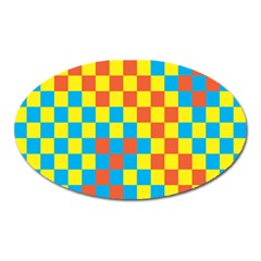 Optical Illusions Plaid Line Yellow Blue Red Flag Oval Magnet