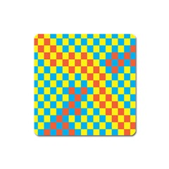 Optical Illusions Plaid Line Yellow Blue Red Flag Square Magnet
