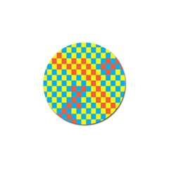 Optical Illusions Plaid Line Yellow Blue Red Flag Golf Ball Marker