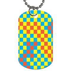 Optical Illusions Plaid Line Yellow Blue Red Flag Dog Tag (Two Sides)