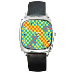 Optical Illusions Plaid Line Yellow Blue Red Flag Square Metal Watch