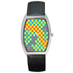Optical Illusions Plaid Line Yellow Blue Red Flag Barrel Style Metal Watch