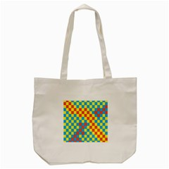 Optical Illusions Plaid Line Yellow Blue Red Flag Tote Bag (cream)