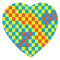 Optical Illusions Plaid Line Yellow Blue Red Flag Jigsaw Puzzle (Heart)