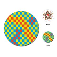 Optical Illusions Plaid Line Yellow Blue Red Flag Playing Cards (Round)