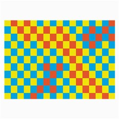 Optical Illusions Plaid Line Yellow Blue Red Flag Large Glasses Cloth (2-Side)