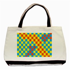 Optical Illusions Plaid Line Yellow Blue Red Flag Basic Tote Bag (Two Sides)