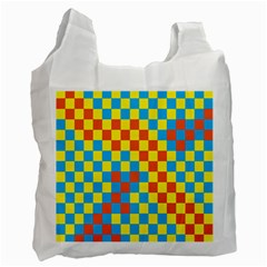 Optical Illusions Plaid Line Yellow Blue Red Flag Recycle Bag (Two Side)