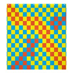 Optical Illusions Plaid Line Yellow Blue Red Flag Shower Curtain 66  x 72  (Large)