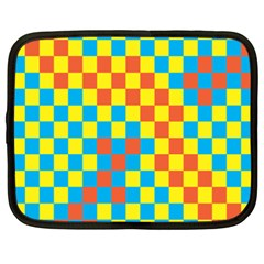 Optical Illusions Plaid Line Yellow Blue Red Flag Netbook Case (XXL)
