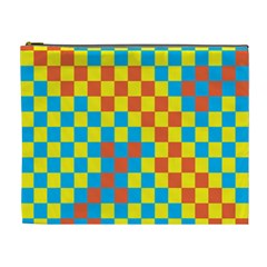 Optical Illusions Plaid Line Yellow Blue Red Flag Cosmetic Bag (XL)