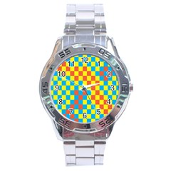 Optical Illusions Plaid Line Yellow Blue Red Flag Stainless Steel Analogue Watch