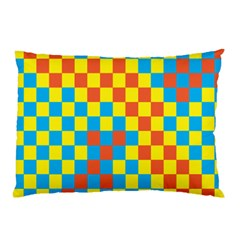 Optical Illusions Plaid Line Yellow Blue Red Flag Pillow Case (Two Sides)