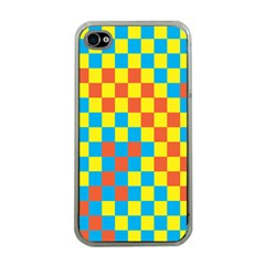 Optical Illusions Plaid Line Yellow Blue Red Flag Apple iPhone 4 Case (Clear)