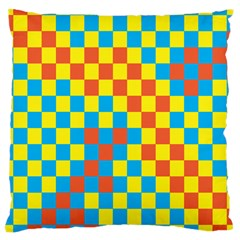Optical Illusions Plaid Line Yellow Blue Red Flag Large Cushion Case (Two Sides)