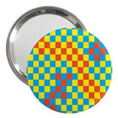 Optical Illusions Plaid Line Yellow Blue Red Flag 3  Handbag Mirrors
