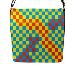 Optical Illusions Plaid Line Yellow Blue Red Flag Flap Messenger Bag (L)