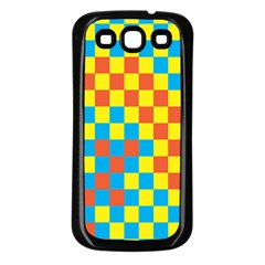 Optical Illusions Plaid Line Yellow Blue Red Flag Samsung Galaxy S3 Back Case (Black)