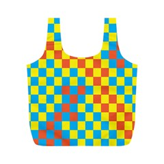 Optical Illusions Plaid Line Yellow Blue Red Flag Full Print Recycle Bags (M)