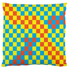 Optical Illusions Plaid Line Yellow Blue Red Flag Large Flano Cushion Case (one Side)