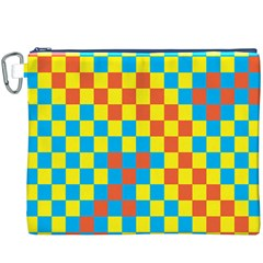 Optical Illusions Plaid Line Yellow Blue Red Flag Canvas Cosmetic Bag (XXXL)
