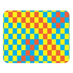 Optical Illusions Plaid Line Yellow Blue Red Flag Double Sided Flano Blanket (Large)