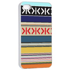 Original Code Rainbow Color Chevron Wave Line Apple iPhone 4/4s Seamless Case (White)