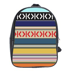 Original Code Rainbow Color Chevron Wave Line School Bags (XL)