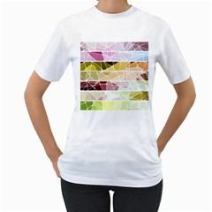 Geometric Mosaic Line Rainbow Women s T Shirt (white) (two Sided)