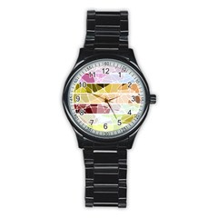 Geometric Mosaic Line Rainbow Stainless Steel Round Watch