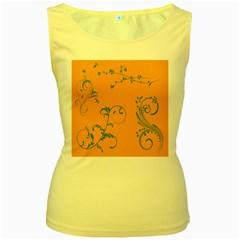 Nature Leaf Green Orange Women s Yellow Tank Top