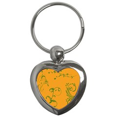 Nature Leaf Green Orange Key Chains (Heart)