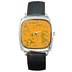Nature Leaf Green Orange Square Metal Watch