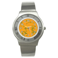 Nature Leaf Green Orange Stainless Steel Watch